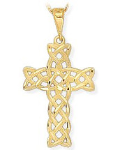 14 Karat Yellow Gold Detailed Religious Celtic Cross