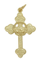 10 Karat Yellow Gold Claddagh Style Cross