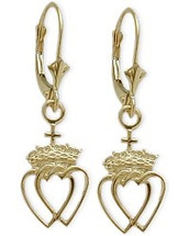 10 Karat Yellow Gold Celtic Crowned Heart Earrings