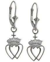 10 Karat White Gold Celtic Crowned Heart Earrings
