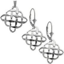 10 Karat White Gold Celtic Knot Earrings & Pendant Set with chain