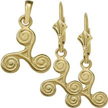 10 Karat Yellow Gold Celtic Triskele Earrings & Pendant Set with chain