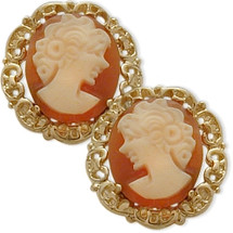 14K Yellow Gold Cornelian Shell Cameo Earrings
