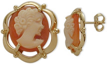 14 Karat Yellow Gold Cornelian Shell Cameo Earrings
