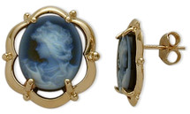 14 Karat Yellow Gold Blue Agate Cameo Earrings