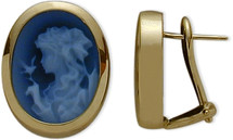 14K Yellow Gold Blue Agate Cameo Earrings