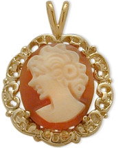 14K Yellow Gold Cornelian Shell Cameo Pendant