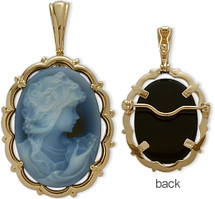 14 Karat Yellow Gold Blue Agate Cameo Pendant