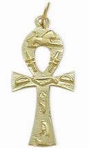 Yellow Gold Hieroglyphic Ankh Charm Pendant