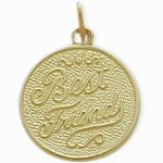 Yellow Gold BEST FRIENDS Round Charm Pendant