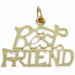 Yellow Gold BEST FRIEND Charm Pendant