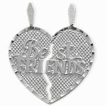 Sterling Silver BEST FRIENDS Heart Charm Pendant with 1 chain
