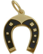 14K Yellow Gold Good Luck Horseshoe Pendant