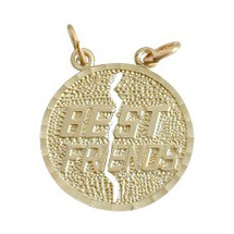 Yellow Gold Round BEST FRIEND Charm Pendant