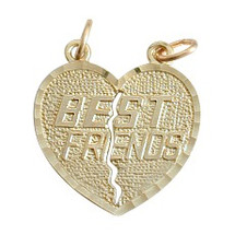 Yellow Gold BEST FRIEND Charm Heart Pendant