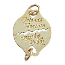 Yellow Gold BEST FRIEND Italic Script Charm Pendant