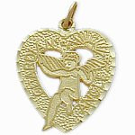 Yellow Gold Guardian Angel Heart Charm Pendant