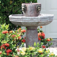 Smart Solar Milano Two-Tier Lion Head Fountain