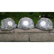 Homebrite Solar Power Jumbo Grey Rock Spot Lights (Set of 3)