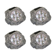 Homebrite Set of 4 Solar Power Grey Rock Spot Lights