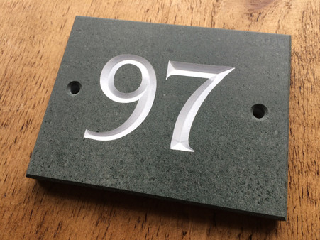 Roman style Number on green slate with white paint