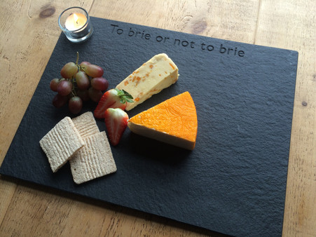 Large lakeland slate quirky saying cheese board  To brie or not to brie