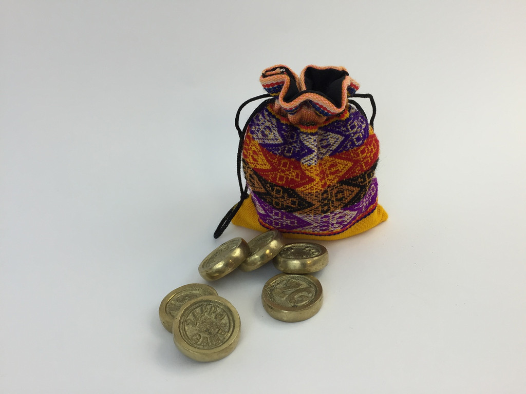 12 Tokens for the Game of Sapo, each set comes with a storage bag made of peruvian fabric.