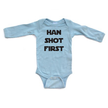 "Apericots ""Han Shot First"" Star Wars Long Sleeve Baby Bodysuit"