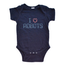 "Navy Blue Short-Sleeve Baby Bodysuit with Techno ""I Love Robots"" Design in Light Blue and Soft Red Lettering"