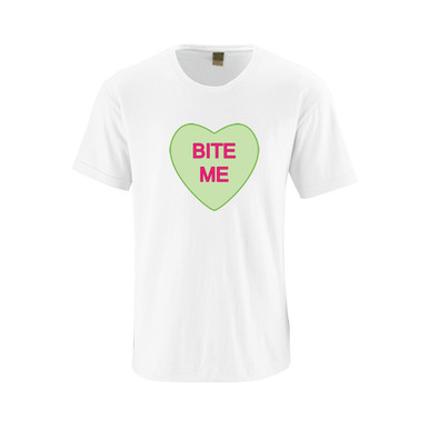"""Hilarious Anti Valentine's Day Bitter Candy Hearts Phrases """"Bite Me"""" Adult Funny Cotton Tee"""