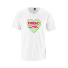 """Hilarious Anti Valentine's Day Bitter Candy Hearts Phrases """"Friend Zoned"""" Adult Funny Cotton Tee"""