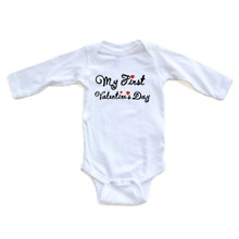 """Adorable """"My First Valentine's Day"""" Valentine's Day Baby Long Sleeve Bodysuit"""