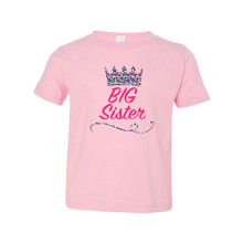 """Cute """"Big Sister"""" Print on Soft Cotton Toddler Tee With Multicolored Tiara Crown"""