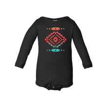 Cool Native American Aztec Southwest Indian Style Print Long Baby Bodysuit