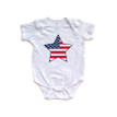 American Flag Star Baby Patriotic July 4 Independence Day Bodysuit