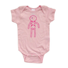 Apericots Fun Spooky Pink Silly Skeleton Doll Baby Girl Cute Soft Cotton Bodysuit