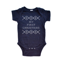 "Apericots ""My First Christmas"" Cross Stitch Holiday Sweater Inspired Funny Cute Baby Short Sleeve Soft Cotton Bodysuit"
