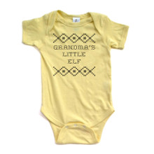 "Apericots ""Grandma's Little Elf"" Cross Stitch Holiday Sweater Inspired Funny Cute Christmas Xmas Baby Short Sleeve Soft Cotton Bodysuit"