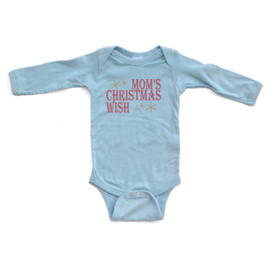 Apericots Cute Mom's Christmas Wish Festive Winter Holiday Christmas Baby Long Sleeve Soft Cotton Creeper