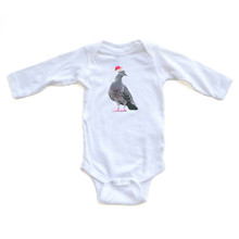 Apericots Funny Pigeon Wearing Santa Hat Christmas Unique Holiday Baby Soft Cotton Long Sleeve Bodysuit