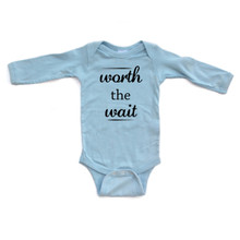 Apericots Cute Worth the Wait Funny Infant Long Sleeve Soft Cotton Bodysuit