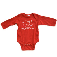 Apericots I'm Snow Cute Cute Fun Pun Snowflake Winter Infant Soft Cotton Long Sleeve Creeper