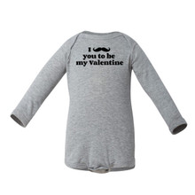 Apericots Cute Valentine's Day I Mustache You to Be My Valentine Funny Long Sleeve Baby Bodysuit