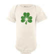 Apericots Vintage Distressed Shamrock Clover Baby Bodysuit for Saint Patrick's Day