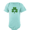 """Apericots """"No Pinches Just Hugs"""" Vintage Distressed Clover Baby St. Patrick's Bodysuit"""