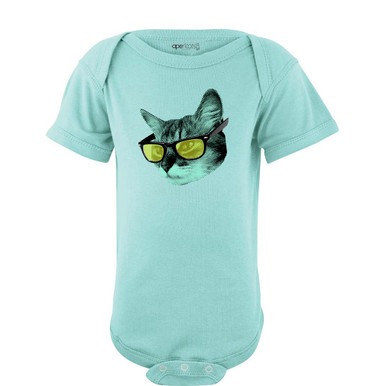 Quirky Short Sleeve Baby Bodysuit Cool Kitty Cat Wearing Glasses