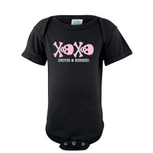 Pink Skull XOXO Hugs Kisses Baby Girl Cute Punk Rock Bodysuit