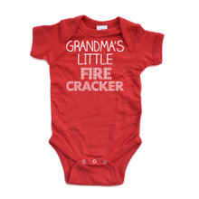 Grandma's Little Fire Cracker Short Sleeve Baby Bodysuit