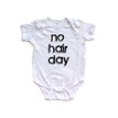 No Hair Day Funny Short Sleeve Baby Bodysuit
