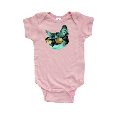 Apericots Cool Kitty Cat American Flag Sunglasses Short Sleeve Baby Bodysuit